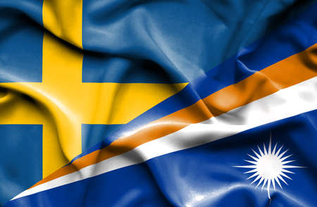 marshall: Waving flag of Marshall Islands and