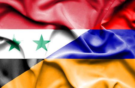 syria peace: Waving flag of Armenia and Syria Stock Photo