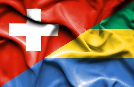 gabon: Waving flag of Gabon and Stock Photo