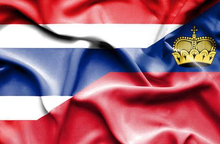 lichtenstein: Waving flag of Lichtenstein and Thailand