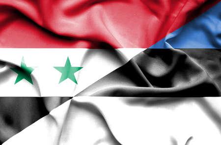 syria peace: Waving flag of Estonia and Syria