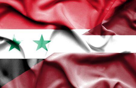 syria peace: Waving flag of Latvia and Syria Stock Photo