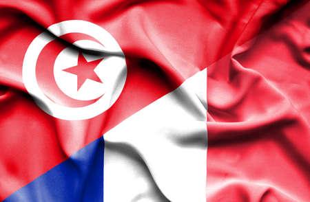 tunisia: Waving flag of France and Tunisia
