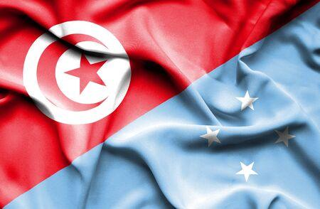 micronesia: Waving flag of Micronesia and Tunisia