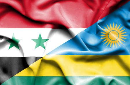 syria: Waving flag of Rwanda and Syria