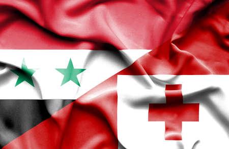 syria peace: Waving flag of Tonga and Syria