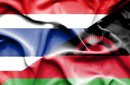 malawi: Waving flag of Malawi and Thailand