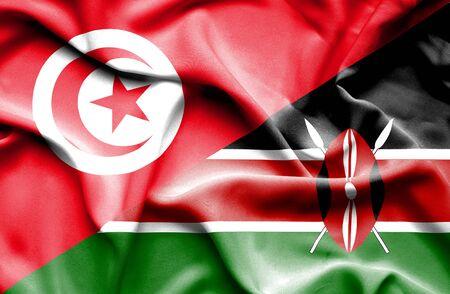 tunisia: Waving flag of Kenya and Tunisia Stock Photo