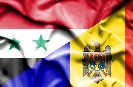 syria peace: Waving flag of Moldavia and Syria