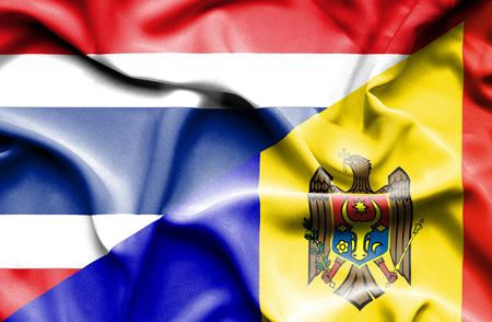 moldavia: Waving flag of Moldavia and Thailand