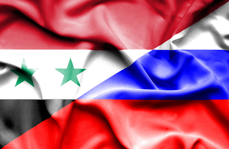 syria peace: Waving flag of Russia and Syria Stock Photo
