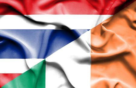 ireland flag: Waving flag of Ireland and Thailand
