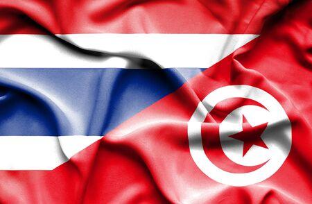 tunisia: Waving flag of Tunisia and Thailand Stock Photo