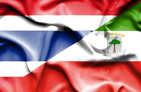 equatorial: Waving flag of Equatorial Giuinea and Thailand Stock Photo
