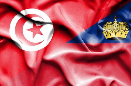 lichtenstein: Waving flag of Lichtenstein and Tunisia Stock Photo