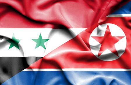 north korea: Waving flag of North Korea and Syria