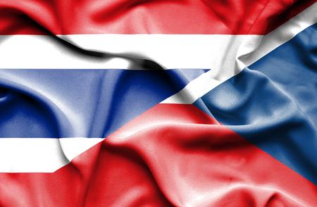 the czech republic: Waving flag of Czech Republic and Thailand