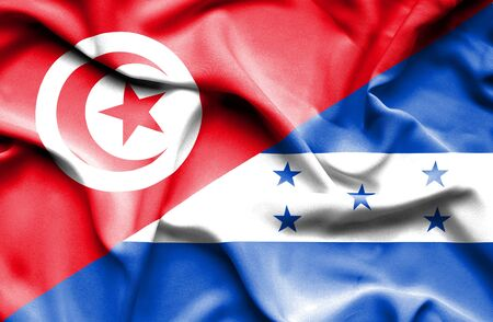 honduras: Waving flag of Honduras and Tunisia