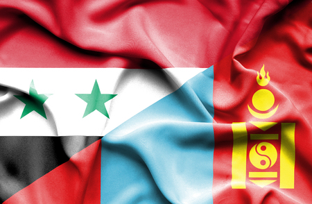 syria peace: Waving flag of Mongolia and Syria Stock Photo