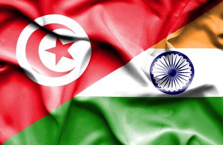 tunisia: Waving flag of India and Tunisia