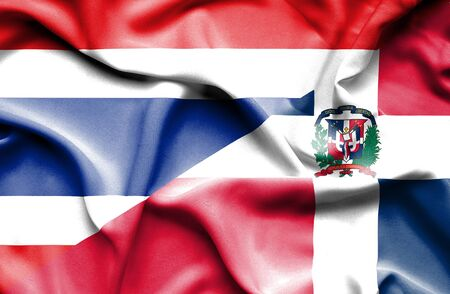dominican republic: Waving flag of Dominican Republic and Thailand