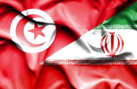 tunisia: Waving flag of Iran and Tunisia