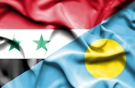 syria peace: Waving flag of Palau and Syria