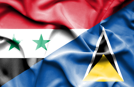st lucia: Waving flag of St Lucia and Syria