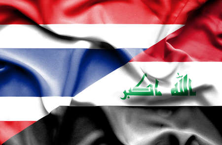 iraq conflict: Waving flag of Iraq and Thailand Stock Photo