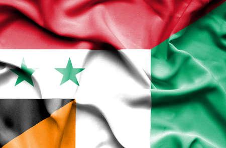 ivory: Waving flag of Ivory Coast and Syria