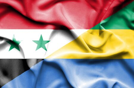syria peace: Waving flag of Gabon and Syria