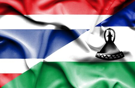 lesotho: Waving flag of Lesotho and Thailand