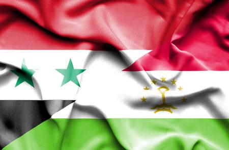 economy of tajikistan: Waving flag of Tajikistan and Syria