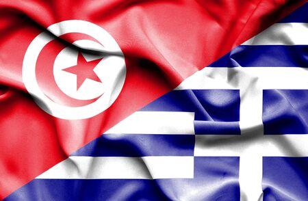 tunisia: Waving flag of Greece and Tunisia