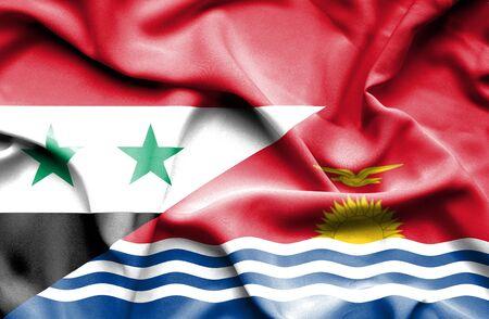 kiribati: Waving flag of Kiribati and Syria