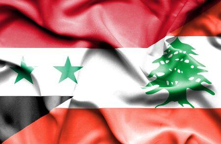 syria peace: Waving flag of Lebanon and Syria