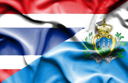 san marino: Waving flag of San Marino and Thailand