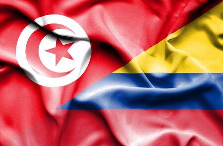 columbia: Waving flag of Columbia and Tunisia