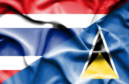 lucia: Waving flag of St Lucia and Thailand Stock Photo