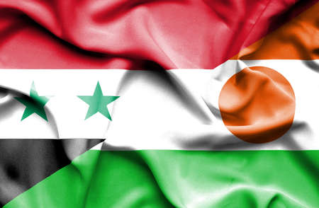 syria peace: Waving flag of Niger and Syria