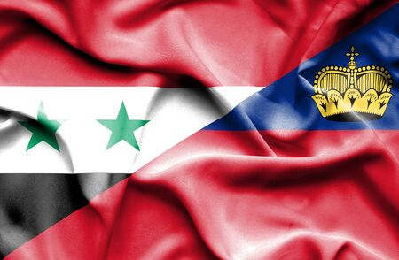 syria peace: Waving flag of Lichtenstein and Syria