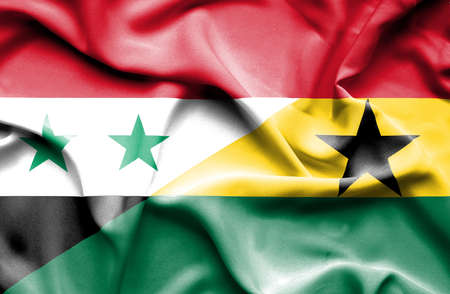 syria: Waving flag of Ghana and Syria Stock Photo