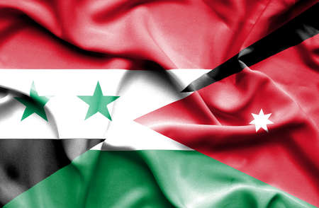 syria peace: Waving flag of Jordan and Syria