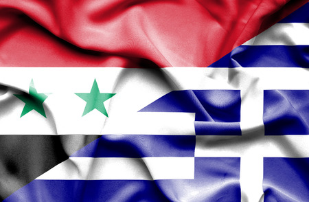 syria peace: Waving flag of Greece and Syria Stock Photo