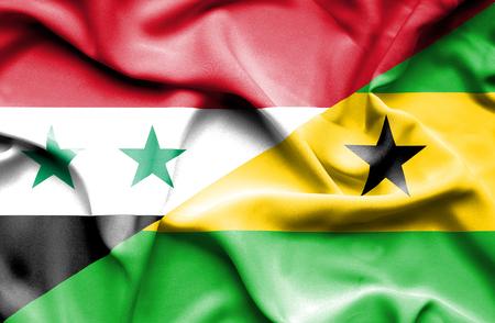 principe: Ondeando la bandera de Santo Tom� y Pr�ncipe y Siria