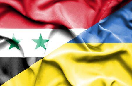 syria peace: Waving flag of Ukraine and Syria