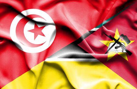 tunisia: Waving flag of Mozambique and Tunisia