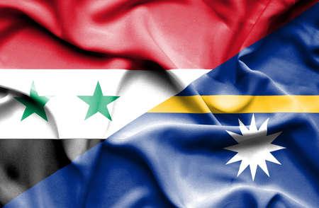syria peace: Waving flag of Nauru and Syria