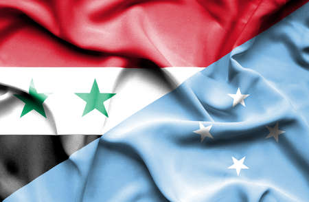 micronesia: Waving flag of Micronesia and Syria