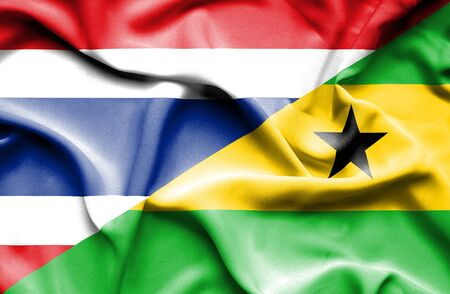 tome: Waving flag of Sao Tome and Principe and Thailand Stock Photo